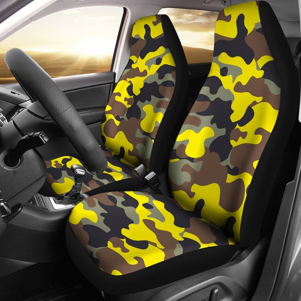 Fantastic Yellow Brown And Black Camouflage Print Universal Fit Car Seat Covers Lamtechconsult Wood Chair Design Ideas Lamtechconsultcom