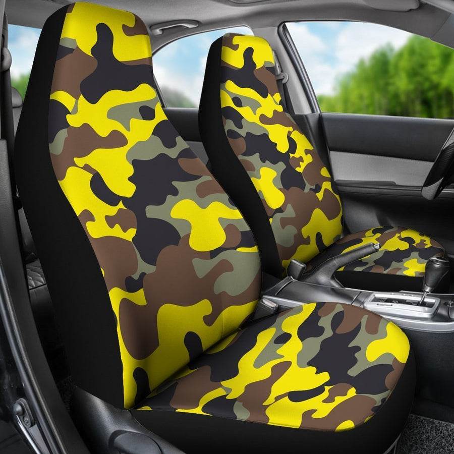 Yellow Brown And Black Camouflage Print Universal Fit Car Seat Covers GearFrost