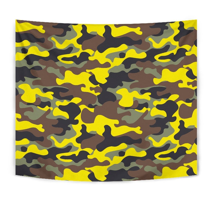 Yellow Brown And Black Camouflage Print Wall Tapestry GearFrost