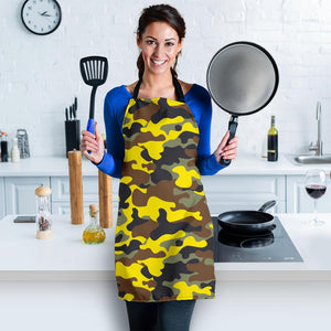 Yellow Brown And Black Camouflage Print Women's Apron GearFrost