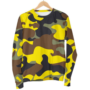 Yellow Brown And Black Camouflage Print Women's Crewneck Sweatshirt GearFrost