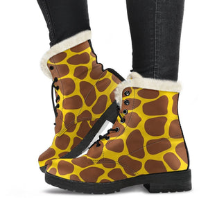 Yellow Brown Giraffe Pattern Print Comfy Boots GearFrost
