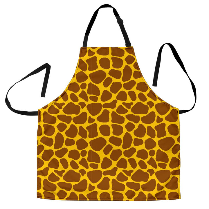 Yellow Brown Giraffe Pattern Print Men's Apron GearFrost