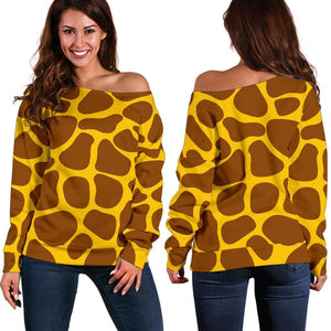 Yellow Brown Giraffe Pattern Print Off Shoulder Sweatshirt GearFrost