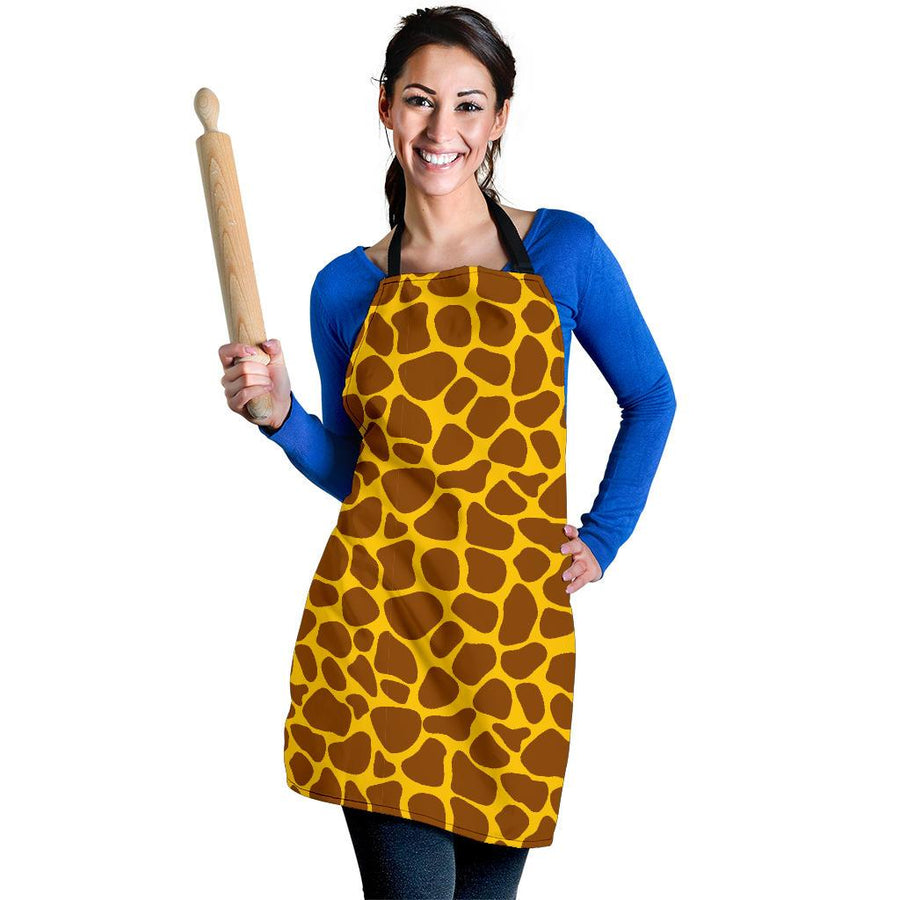 Yellow Brown Giraffe Pattern Print Women's Apron GearFrost