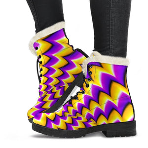 Yellow Dizzy Moving Optical Illusion Comfy Boots GearFrost