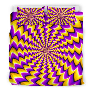 Yellow Dizzy Moving Optical Illusion Duvet Cover Bedding Set GearFrost