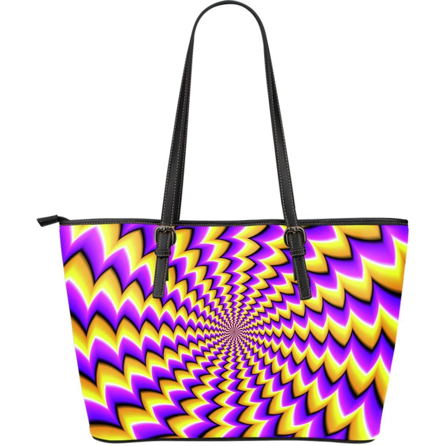 Yellow Dizzy Moving Optical Illusion Leather Tote Bag GearFrost