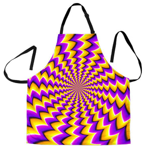 Yellow Dizzy Moving Optical Illusion Men's Apron GearFrost