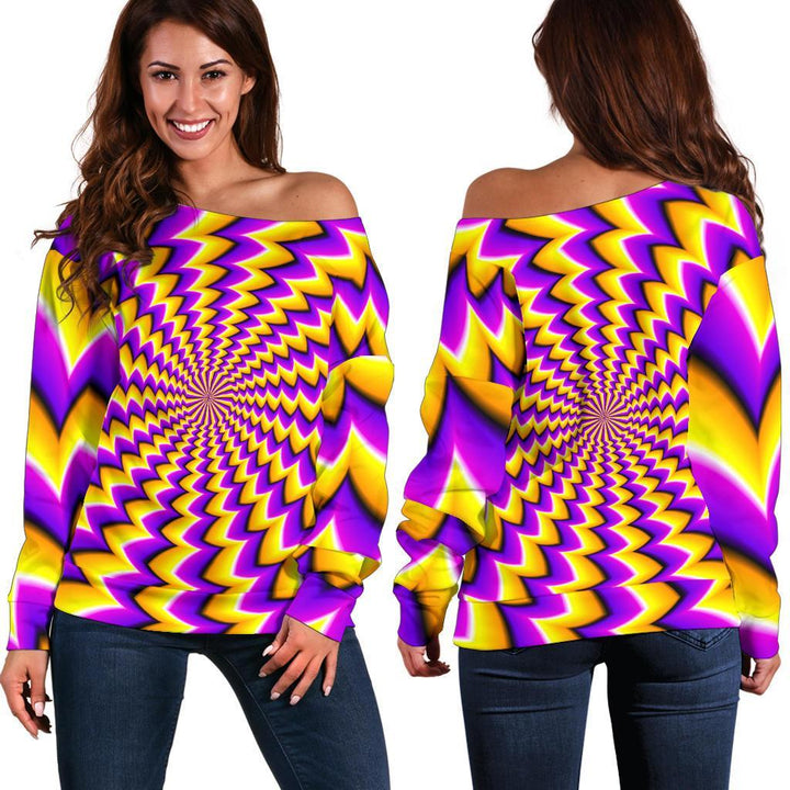 Yellow Dizzy Moving Optical Illusion Off Shoulder Sweatshirt GearFrost