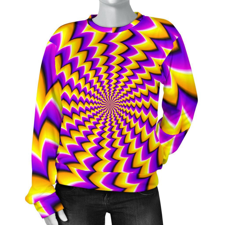 Yellow Dizzy Moving Optical Illusion Women's Crewneck Sweatshirt GearFrost