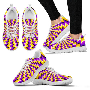 Yellow Dizzy Moving Optical Illusion Women's Sneakers GearFrost