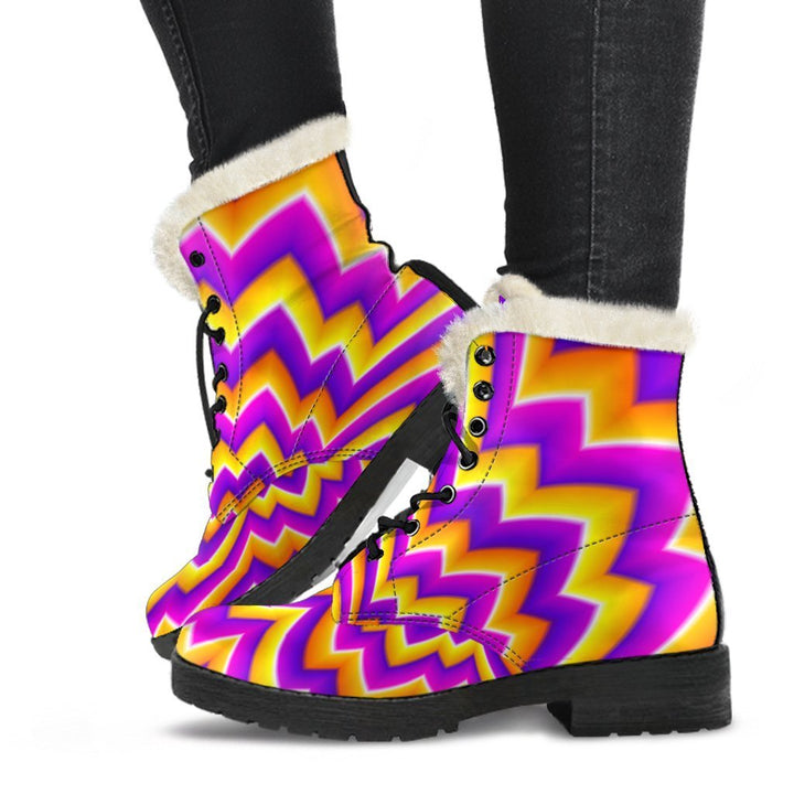 Yellow Expansion Moving Optical Illusion Comfy Boots GearFrost