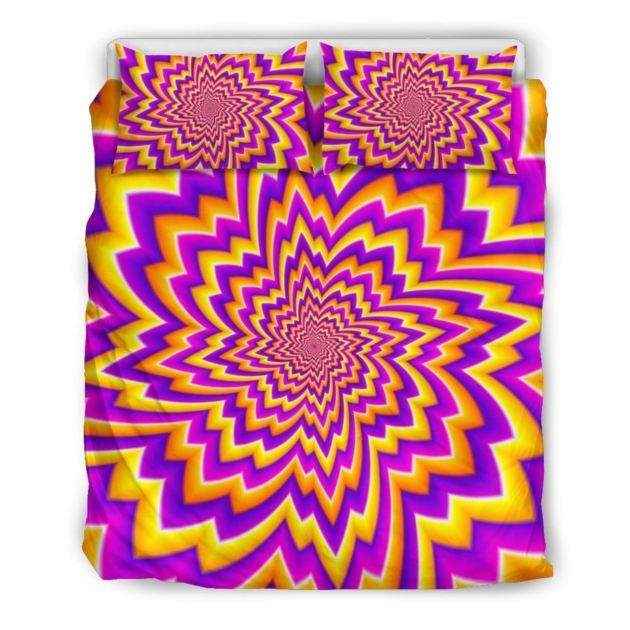 Yellow Expansion Moving Optical Illusion Duvet Cover Bedding Set GearFrost