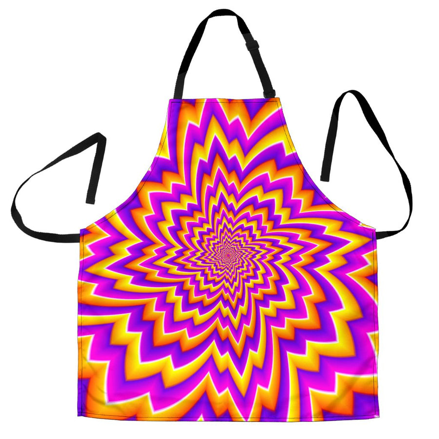 Yellow Expansion Moving Optical Illusion Men's Apron GearFrost