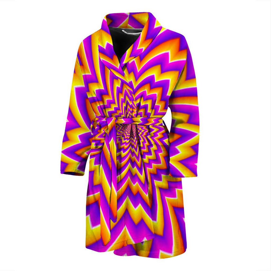 Yellow Expansion Moving Optical Illusion Men's Bathrobe GearFrost