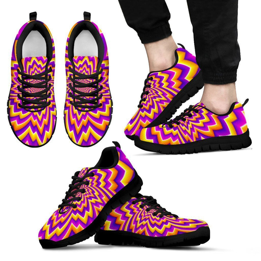 Yellow Expansion Moving Optical Illusion Men's Sneakers GearFrost