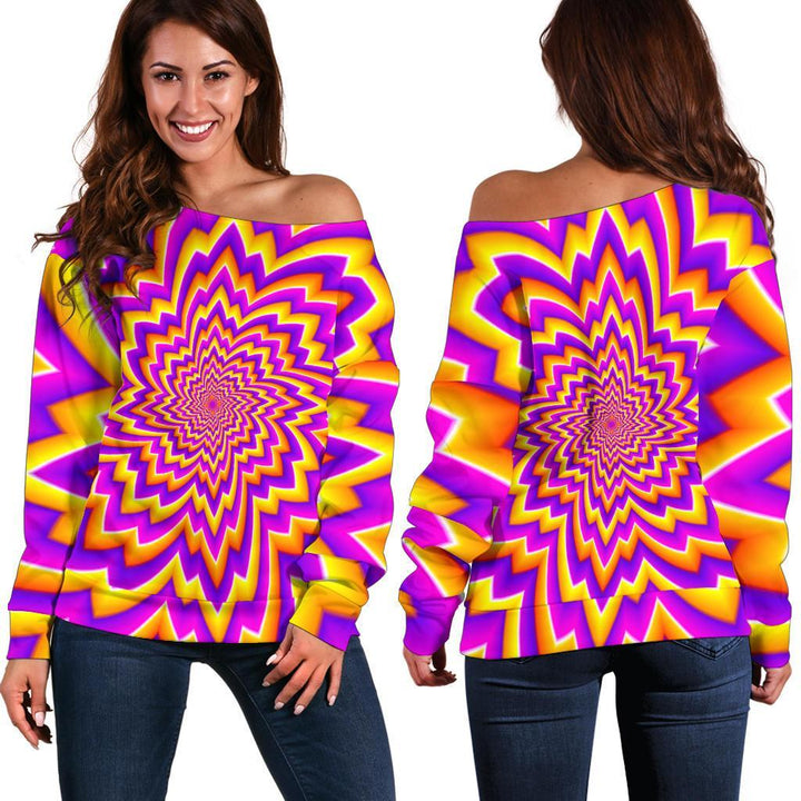 Yellow Expansion Moving Optical Illusion Off Shoulder Sweatshirt GearFrost