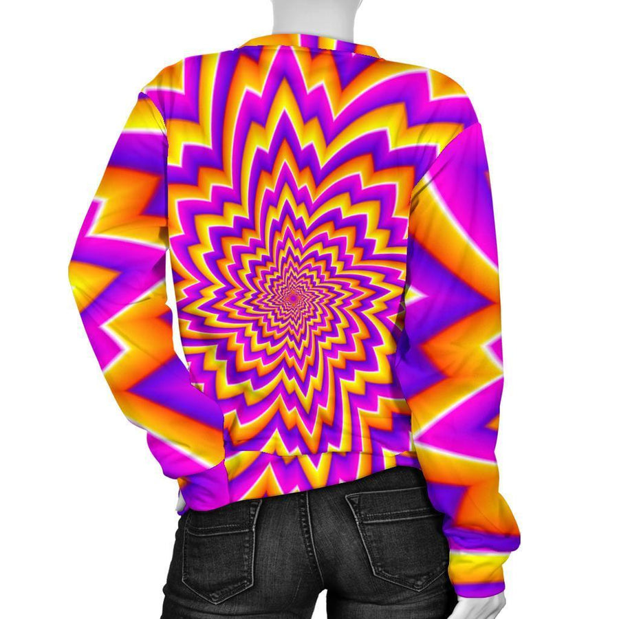 Yellow Expansion Moving Optical Illusion Women's Crewneck Sweatshirt GearFrost