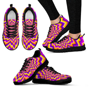 Yellow Expansion Moving Optical Illusion Women's Sneakers GearFrost