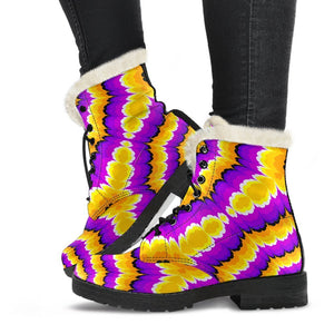Yellow Explosion Moving Optical Illusion Comfy Boots GearFrost