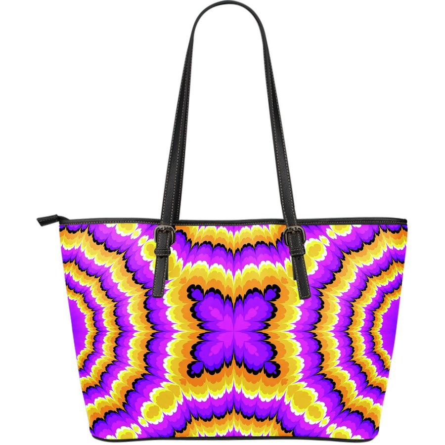 Yellow Explosion Moving Optical Illusion Leather Tote Bag GearFrost