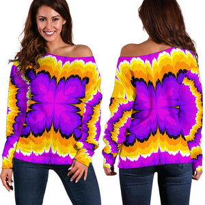 Yellow Explosion Moving Optical Illusion Off Shoulder Sweatshirt GearFrost