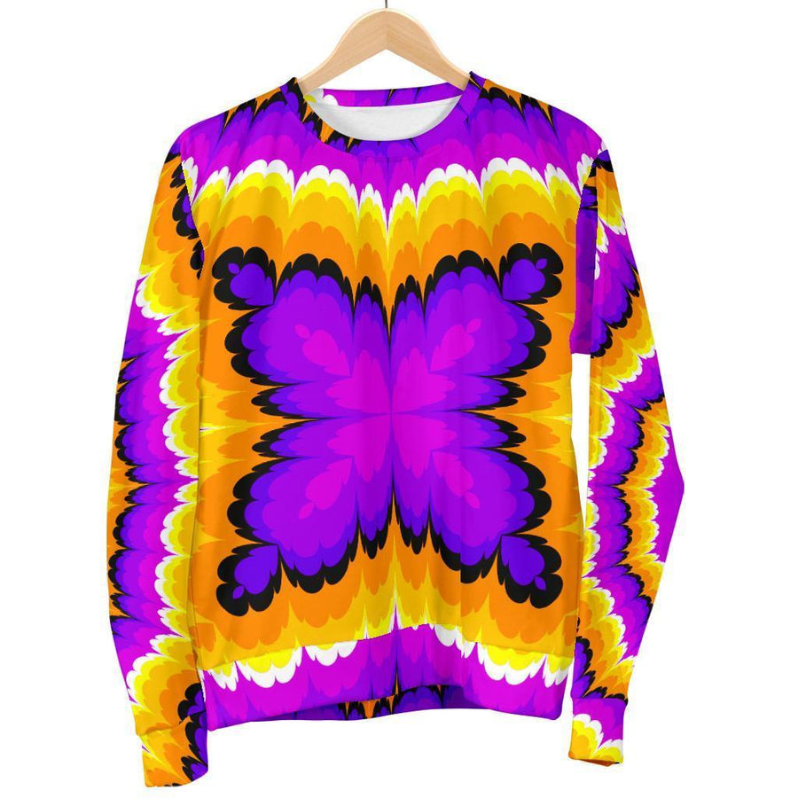 Yellow Explosion Moving Optical Illusion Women's Crewneck Sweatshirt GearFrost