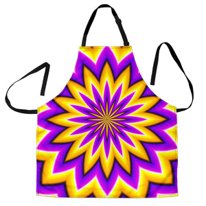 Yellow Flower Moving Optical Illusion Men's Apron GearFrost