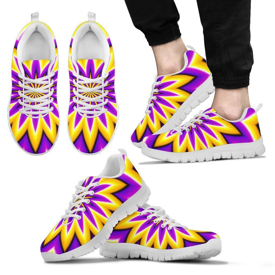 Yellow Flower Moving Optical Illusion Men's Sneakers GearFrost