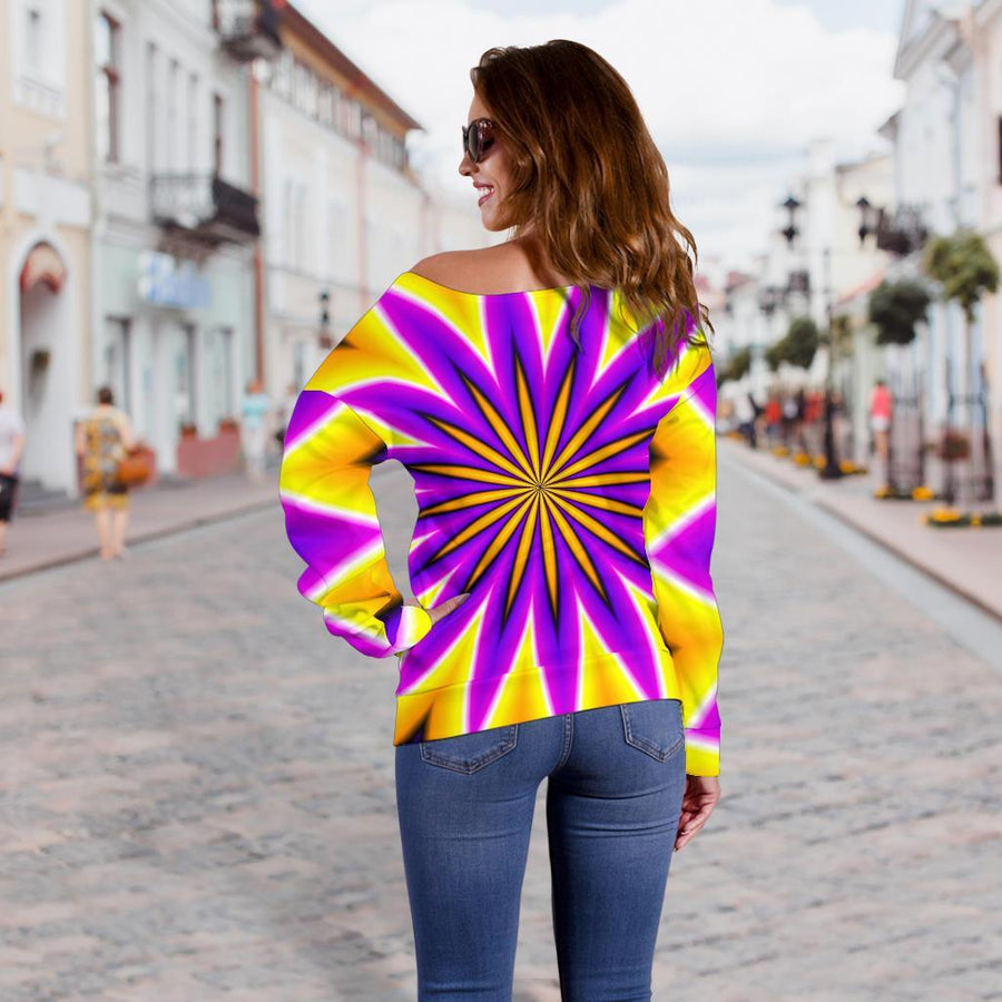 Yellow Flower Moving Optical Illusion Off Shoulder Sweatshirt GearFrost