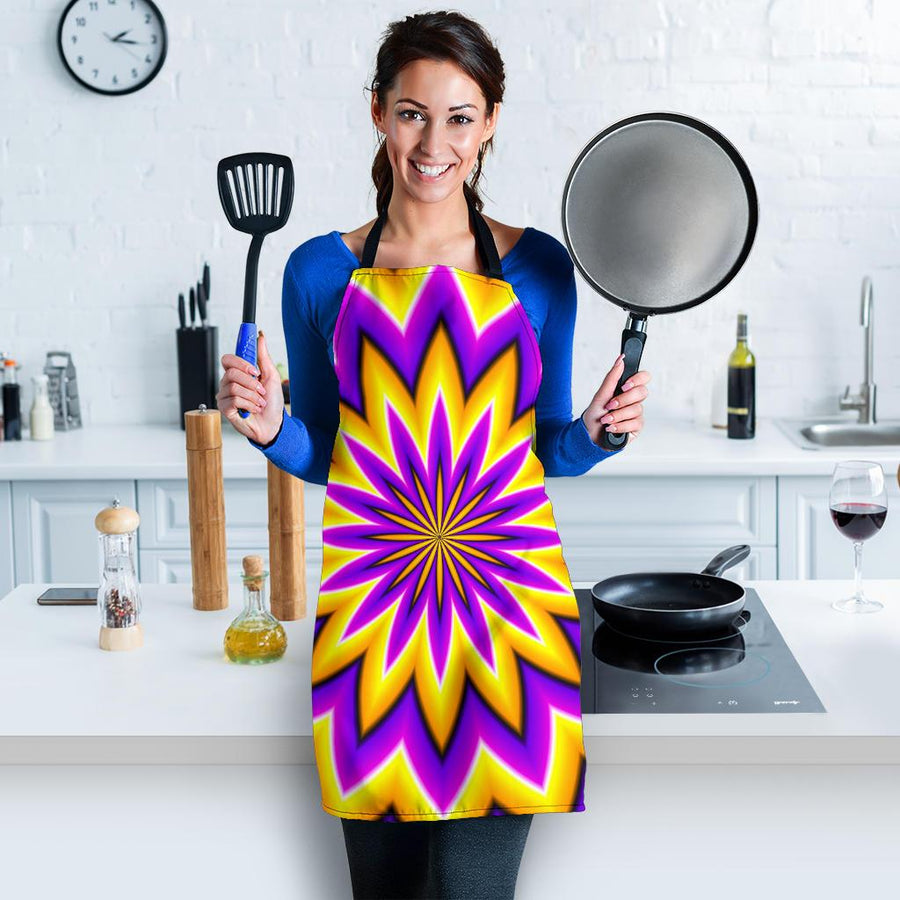 Yellow Flower Moving Optical Illusion Women's Apron GearFrost