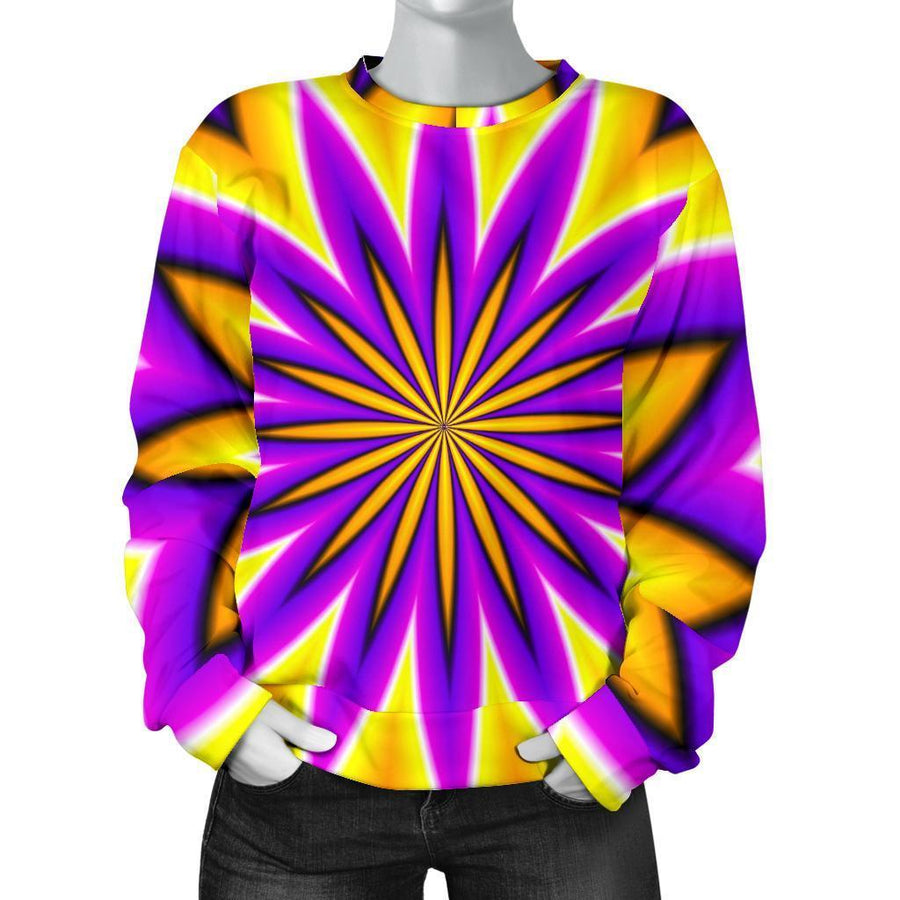 Yellow Flower Moving Optical Illusion Women's Crewneck Sweatshirt GearFrost