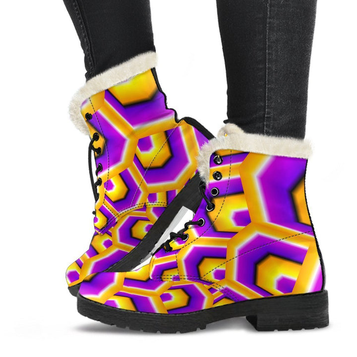Yellow Hive Moving Optical Illusion Comfy Boots GearFrost