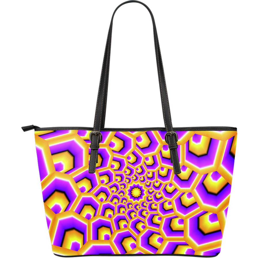Yellow Hive Moving Optical Illusion Leather Tote Bag GearFrost