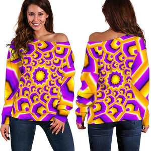 Yellow Hive Moving Optical Illusion Off Shoulder Sweatshirt GearFrost