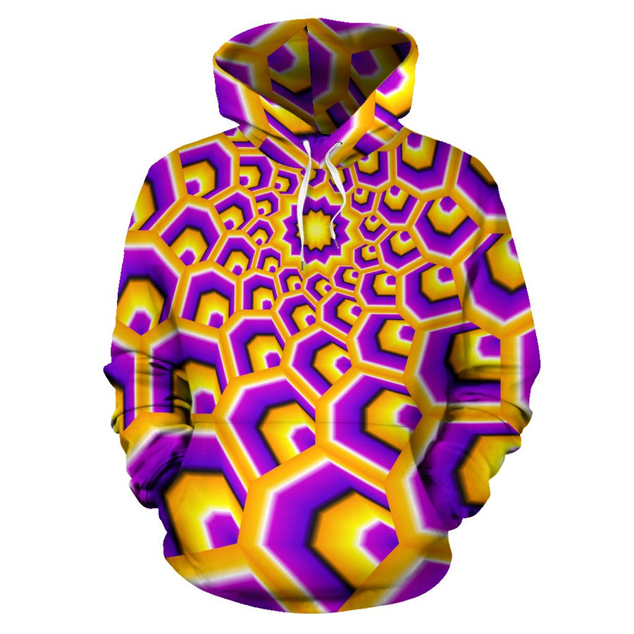 Yellow Hive Moving Optical Illusion Pullover Hoodie GearFrost