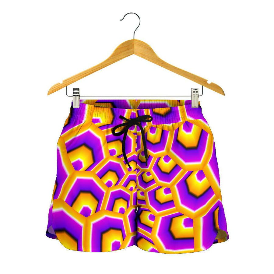 Yellow Hive Moving Optical Illusion Women's Shorts GearFrost