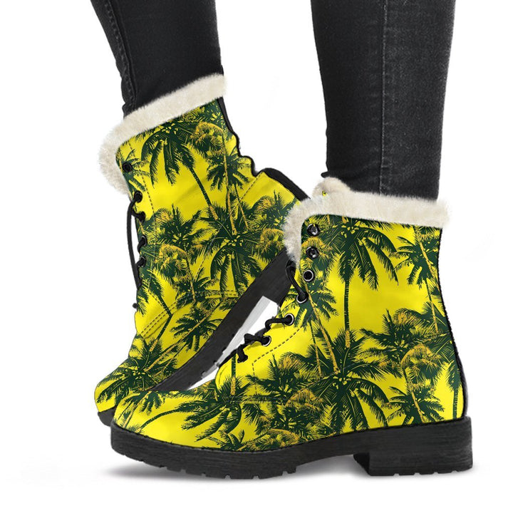 Yellow Palm Tree Pattern Print Comfy Boots GearFrost