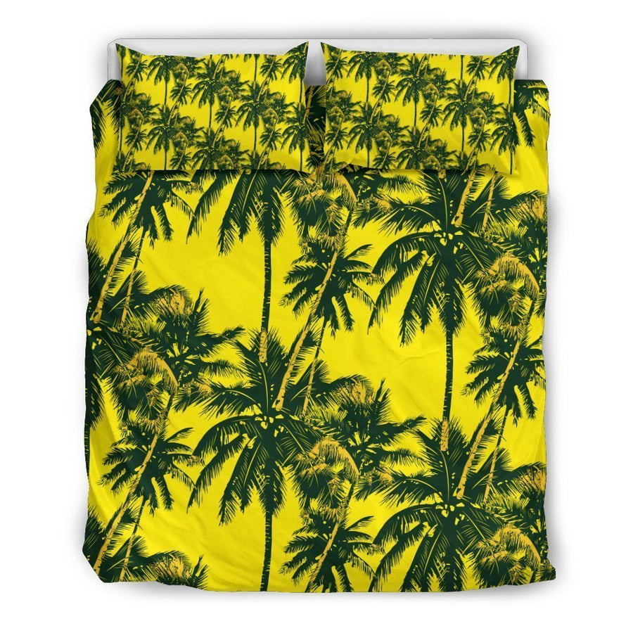 Yellow Palm Tree Pattern Print Duvet Cover Bedding Set GearFrost