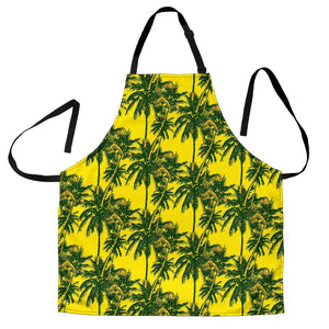 Yellow Palm Tree Pattern Print Men's Apron GearFrost