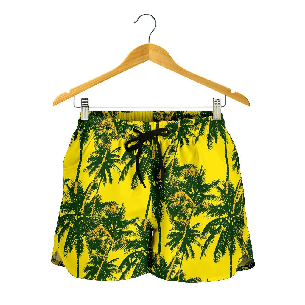 Yellow Palm Tree Pattern Print Women's Shorts GearFrost