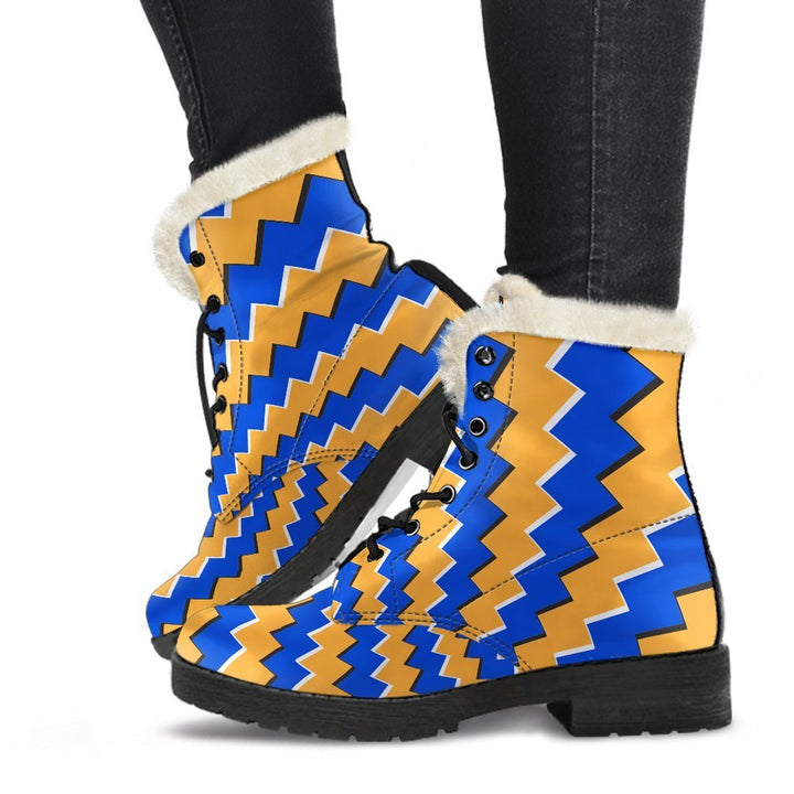 Yellow Spiral Moving Optical Illusion Comfy Boots GearFrost