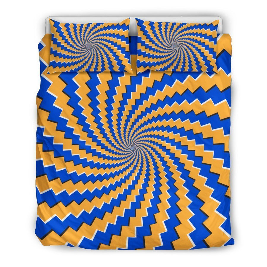 Yellow Spiral Moving Optical Illusion Duvet Cover Bedding Set GearFrost