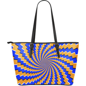 Yellow Spiral Moving Optical Illusion Leather Tote Bag GearFrost