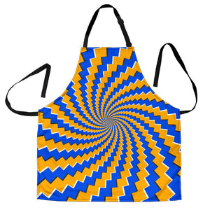 Yellow Spiral Moving Optical Illusion Men's Apron GearFrost