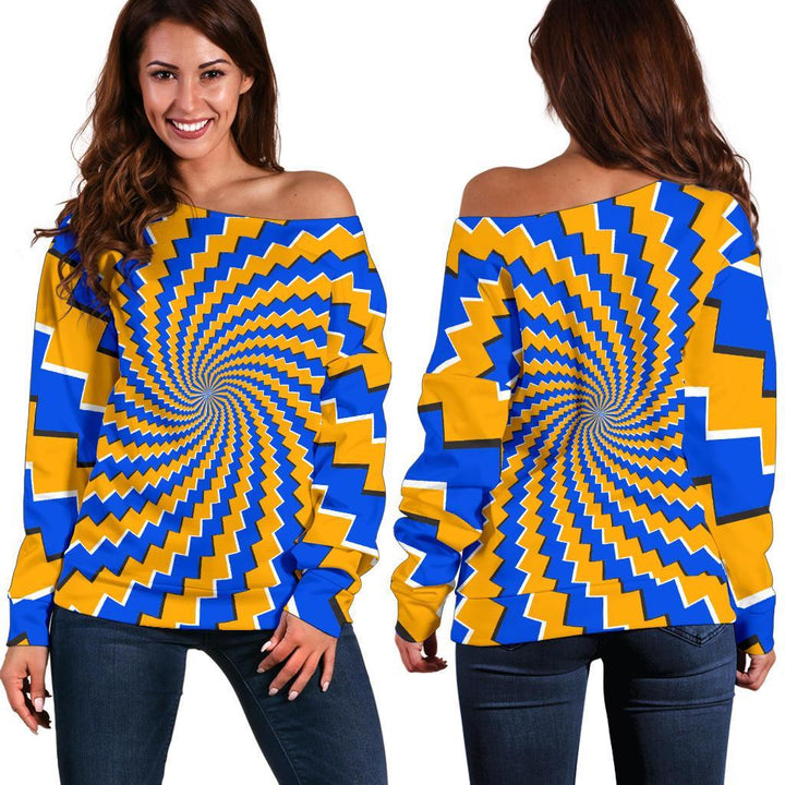 Yellow Spiral Moving Optical Illusion Off Shoulder Sweatshirt GearFrost