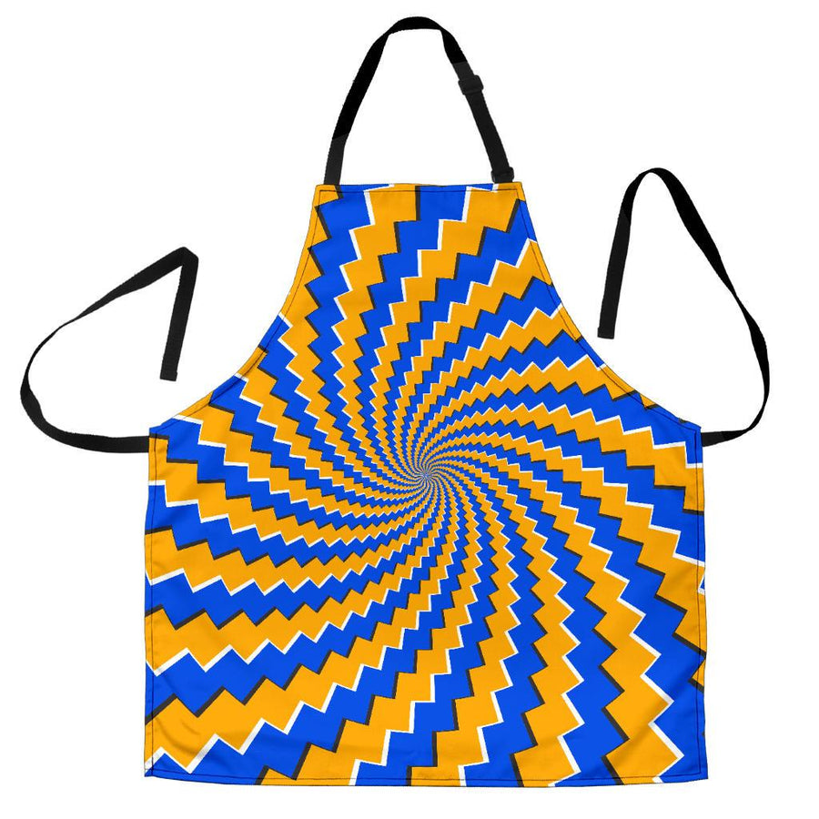 Yellow Spiral Moving Optical Illusion Women's Apron GearFrost