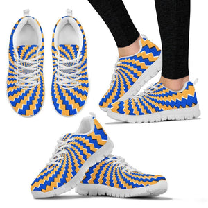 Yellow Spiral Moving Optical Illusion Women's Sneakers GearFrost