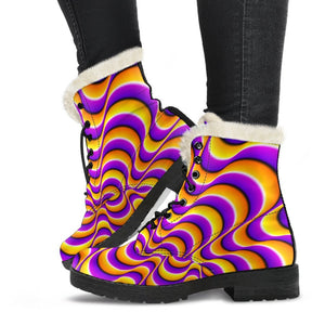 Yellow Splashing Moving Optical Illusion Comfy Boots GearFrost